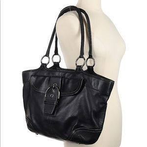 Black Coach Leather Tote - Good Condition